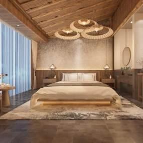新中式民宿卧室3D模型【ID:745533393】