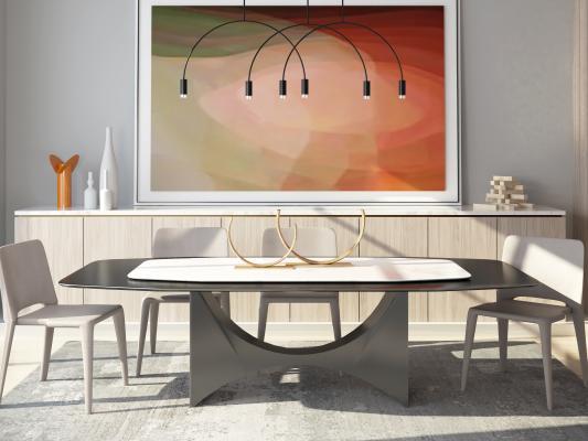 現代簡約餐桌椅3D模型【ID:752599080】