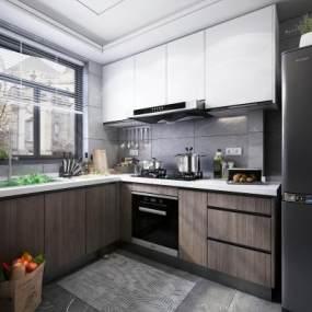 現代風格廚房櫥柜3D模型【ID:543770301】