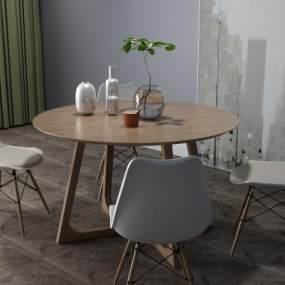 现代餐桌3D模型【ID:833514831】