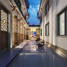 新中式庭院内廊3D模型【ID:135278387】