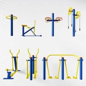现代户外健身器材3D模型【ID:330594817】