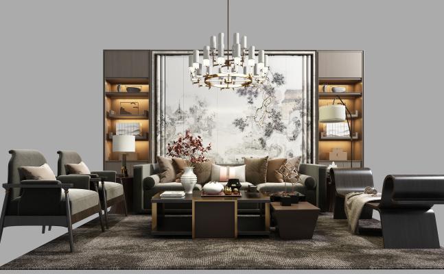 新中式沙发组合3D模型【ID:652860836】