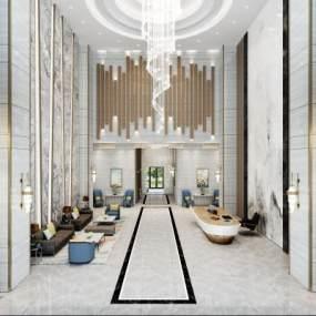 现代轻奢酒店大堂3D模型【ID:744665055】