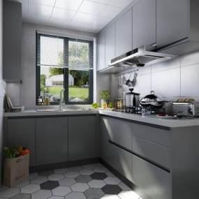 現代廚房3D模型【ID:544005321】