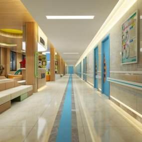 现代妇科儿童医院走廊3D模型【ID:932503797】