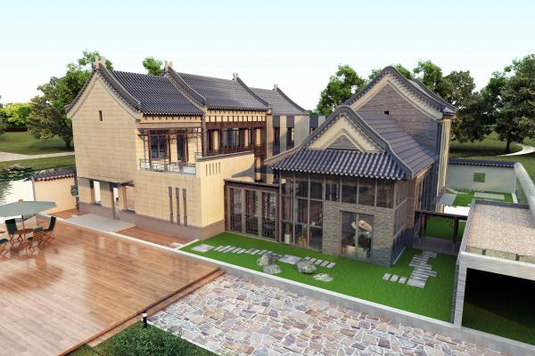 新中式别墅四合院3D模型【ID:134454307】