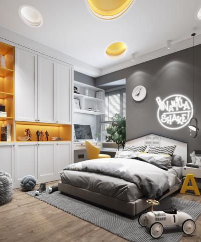 现代风格儿童房卧室 床 书柜