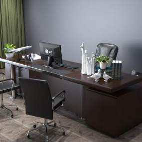 新中式大班台办公桌3D模型【ID:930757164】