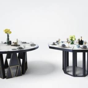 現代輕奢金屬邊餐桌3D模型【ID:850882831】
