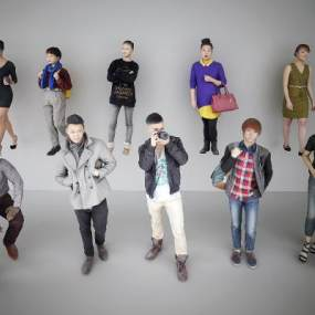 现代时尚人物组合3D模型【ID:330935072】