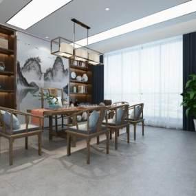 新中式茶室3D模型【ID:648089120】
