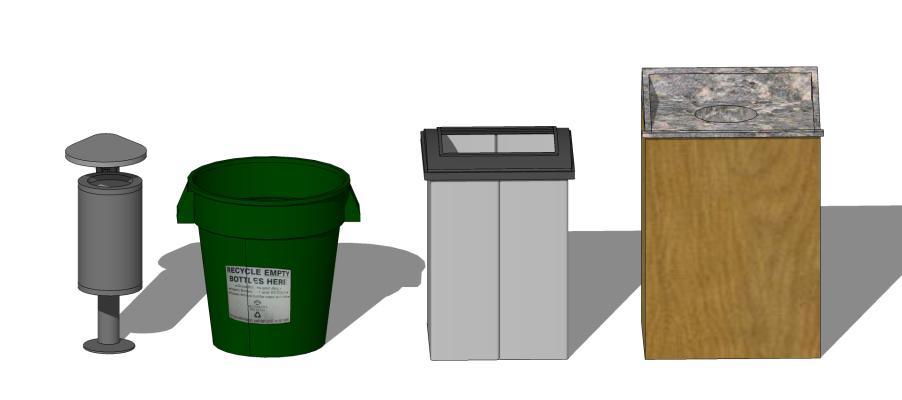现代户外单桶垃圾箱SU模型【ID:650764622】