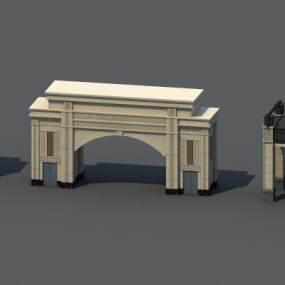简欧大门 3D模型【ID:241485498】