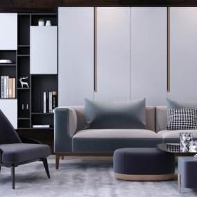 现代高级灰双人沙发书柜单椅组合 3D模型【ID:640921703】