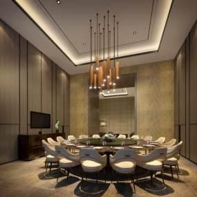 新中式餐厅包房3D模型【ID:653227813】