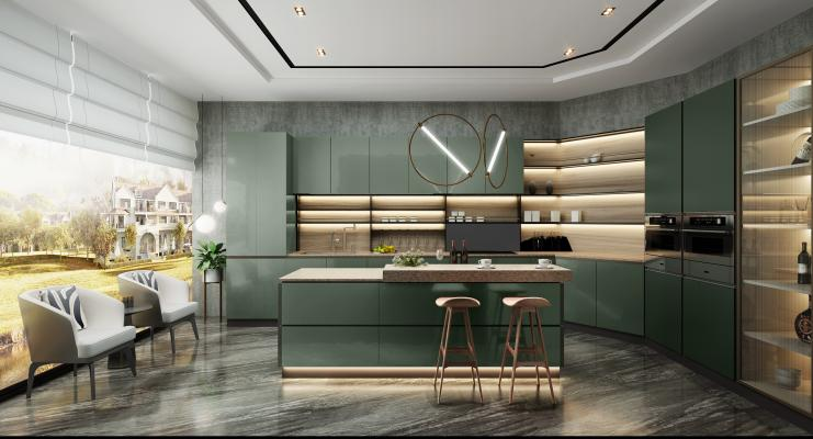 现代轻奢厨房3D模型【ID:550666374】