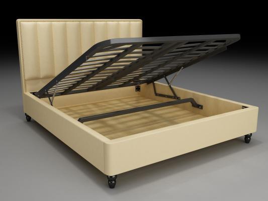 新中式床架氣壓床3D模型【ID:935457034】