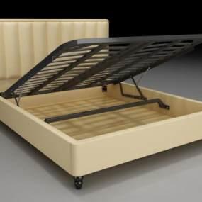 新中式床架气压床3D模型【ID:935457034】
