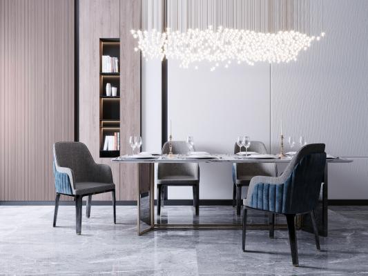 现代餐桌椅组合3D模型【ID:844416858】