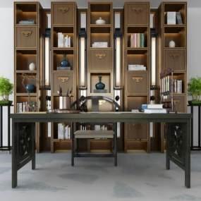 新中式书柜桌椅3D模型【ID:835847801】