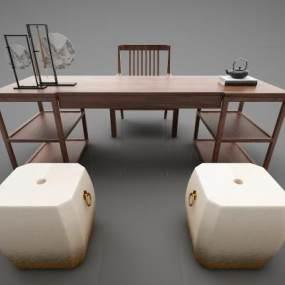 新中式风格书桌3D模型【ID:944353060】