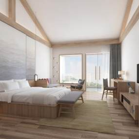 新中式酒店客房3D模型【ID:746346301】