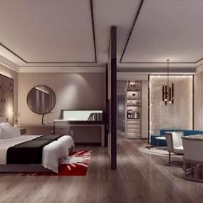 新中式酒店客房3D模型【ID:736065369】