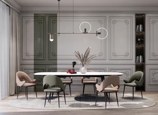 现代餐厅餐桌椅组合