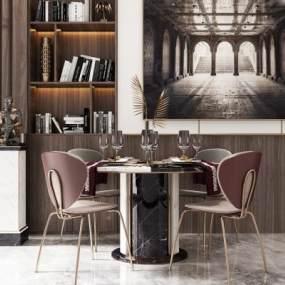 现代轻奢餐桌椅组合3D模型【ID:832005868】