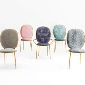 后现代椅子组合3D模型【ID:732340039】