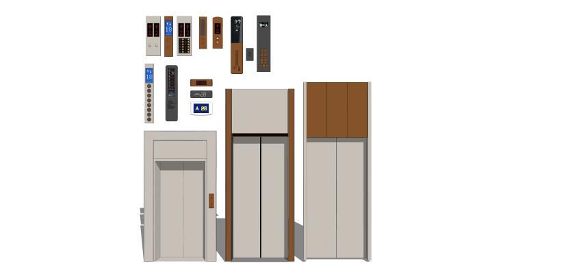 現代電梯門按鍵樓層顯示器組合SU模型【ID:147992908】