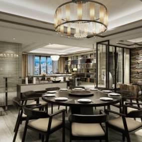 新中式餐厅3D模型【ID:534510145】