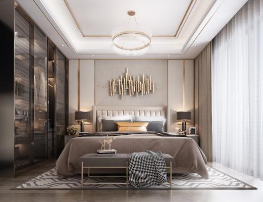 現代輕奢臥室3D模型【ID:548808215】