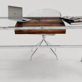 现代玻璃办公桌椅子摆件组合3D模型【ID:933957198】