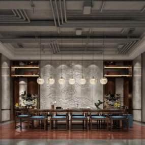 新中式酒店会客厅3D模型【ID:732023567】