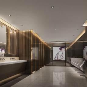 现代风格酒店卫生间3D模型【ID:443633104】