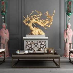 新中式人偶落地灯案几桌椅组合 3D模型【ID:840933284】