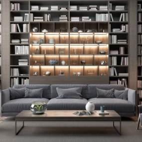 现代高级灰布艺组合沙发3D模型【ID:632139781】
