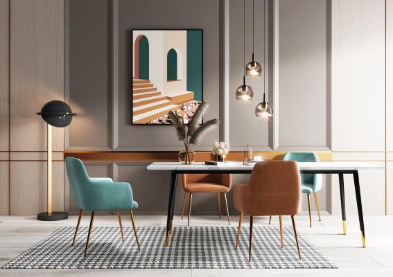 现代餐厅餐桌 餐椅