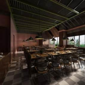 工业风餐厅3D模型【ID:654055293】