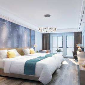 新中式酒店客房卧室3D模型【ID:743407339】