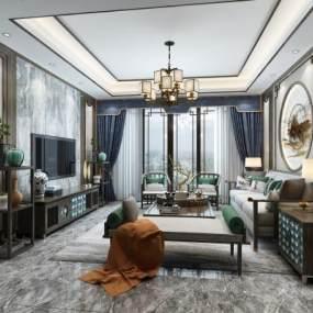 新中式客厅 3D模型【ID:541382033】