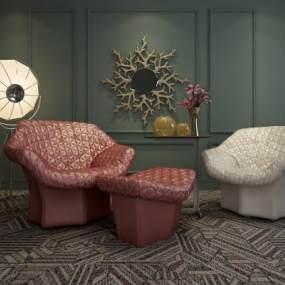 现代皮质沙发单人沙发3D模型【ID:630723497】