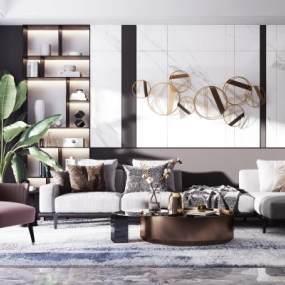 现代轻奢沙发茶几组合3D模型【ID:642281708】