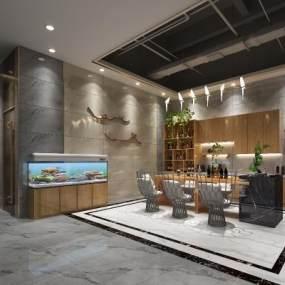 新中式吧台休闲区办公室3D模型【ID:934838080】