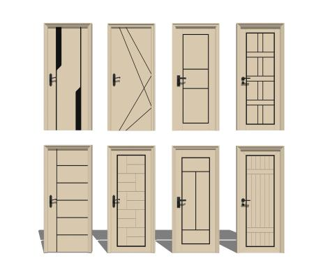 现代门卧室单开门组合SU模型【ID:248440323】