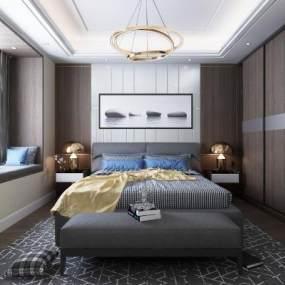 现代卧室3D模型【ID:534669231】