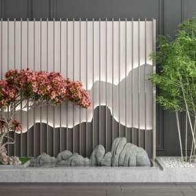 新中式假山植物竹子景观园艺小品3D模型【ID:143306443】