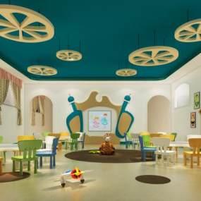 现代幼儿园教室3D模型【ID:944283617】